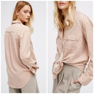 Free People Tan Gold Detail Chambray Top